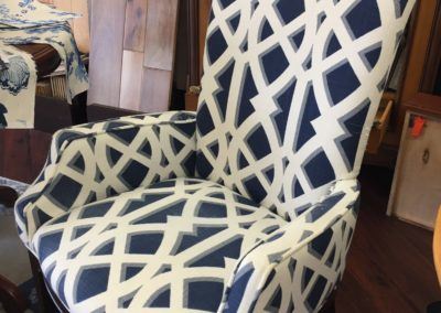 Before - Geometric patterned dinning chairs